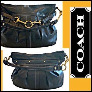 COACH BLACK LEATHER LARGE HOBO SHOULDER BAG